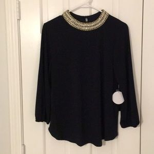New Embellished navy 3/4 blouson sleeve top